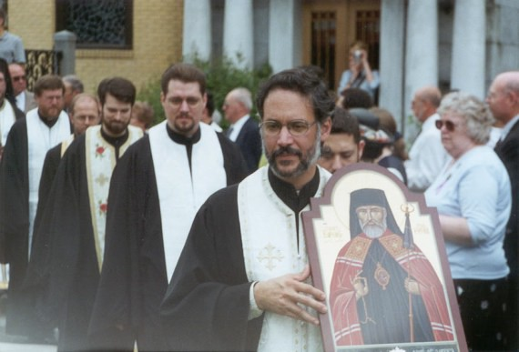 3. Vigil - Leading the procession that brought all the clergy, the relics and the hierarchs into the area where the Vigil would be conducted was an Antiochian priest, Rev. Fr. Paul Alberts of Toledo. Fr. Paul had brought this icon with him to the glorification to be blessed at the Liturgy before the glorification. Not shown here, at the base of the icon is a star-shaped reliquary containing a relic of our holy father Raphael