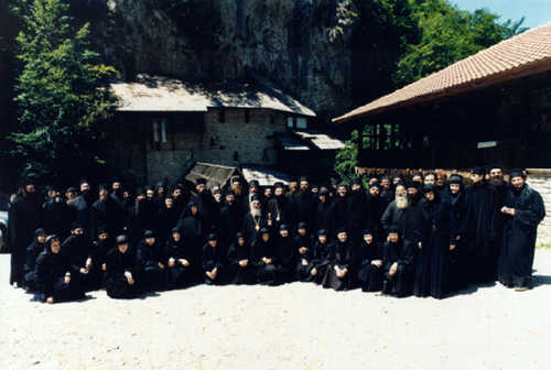 Bishop Artemy and his monks and nuns in Crna Reka Monastery, Serbia, Aug 1998