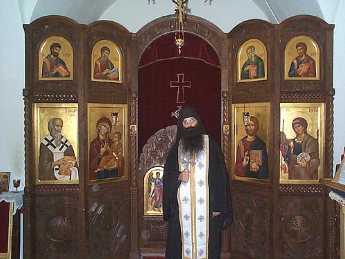 Hieromonk Stephen in the Monastery Chapel, Holy Archangels Monastery, Serbia