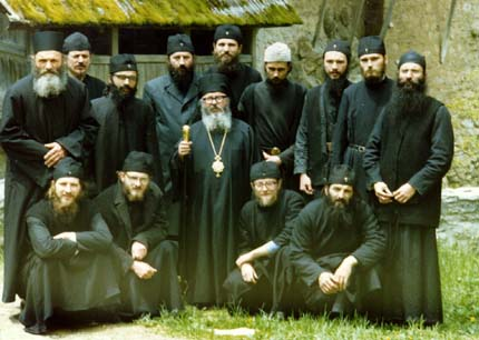 The first brotherhood of Crna Reka Monastery, Serbia, just after Fr. Artemije's election for a bishop of Raska and Prizren Diocese, May 1991