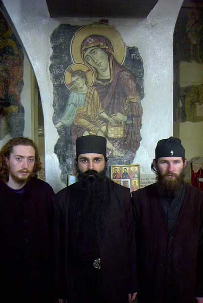 Abbot Herman with two of his novices, Holy Archangels Monastery, Serbia