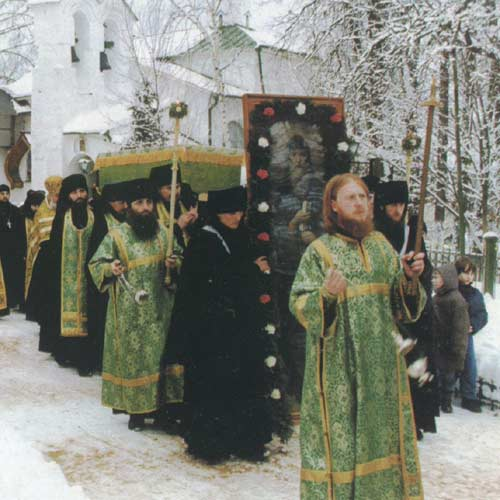 Religious procession in the monastery of Pskov