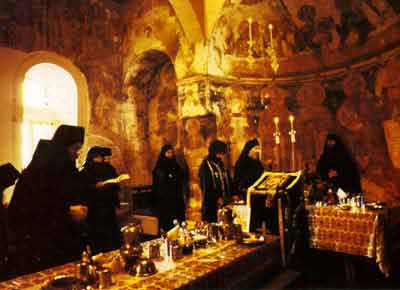 The refectory of a great athonitic monastery