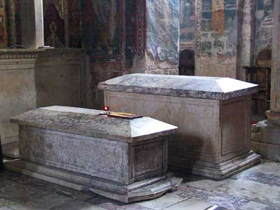 Tombs of St. King Stefan III and his sister Helen - Decani Monastery, Serbia, XIV century