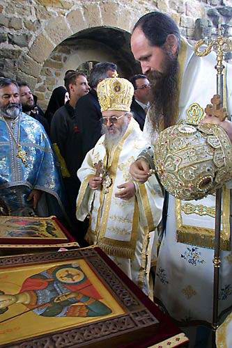 Bishop Artemije and Bishop Joanikije at Djurdjevi Stupovi Monastery, Serbia, on St. George's Day, May 6, 2002